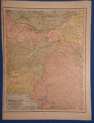 Vintage 1892 AFGHANISTAN CENTRAL ASIA MAP ~Old Antique Original Atlas Map 122018