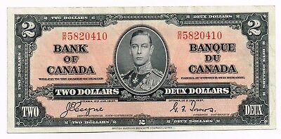 1937 CANADA TWO DOLLARS NOTE - p59c