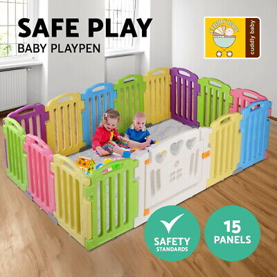 Cuddly Baby 19-Panel Plastic Baby Playpen Kids Toddler Interactive Safety Gate