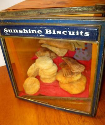 Vintage SUNSHINE BISCUIT Metal and Glass Lid Antique General Store Display
