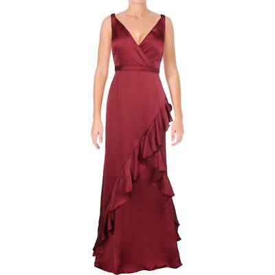 Aidan Mattox Womens Red Satin Special Occasion Evening Dress Gown 4 BHFO 8037