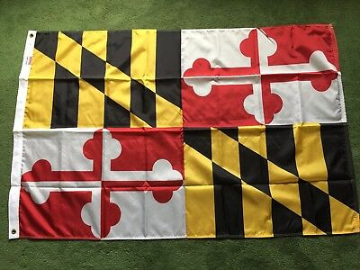 Perma-Nyl Maryland United States 3' X 5' 100% Nylon State Flag Made In Usa New