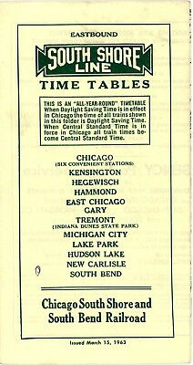 Chicago South Shore & South Bend RR system interurban Time Table, March 15, 1963