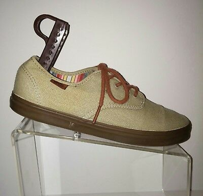 c5ee02f56587 Vans Off The Wall Lace Up Beige Unisex Mens 7.5 Womens 9 Canvas shoes EUC