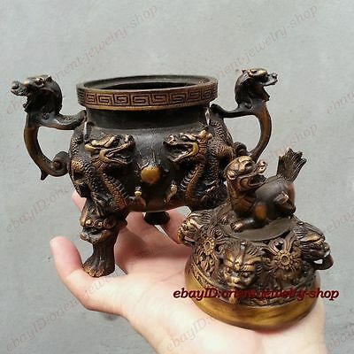 Chinese classical Bronze Signed lucky dragon Statue incense burner Censer 18cm