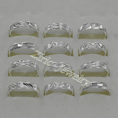Wholesale Lots 10Pcs 925 Sterling Solid Silver Mens Rings Size 6 to 11