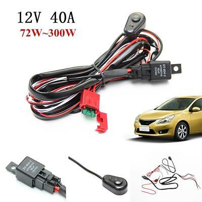 LED Work Driving Light Bar Wiring Harness Kit Fuse 2V 40A Relay Switch Offroad