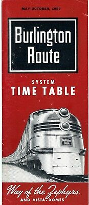 Chicago, Burlington & Quincy RR system passenger time table, April 28, 1957