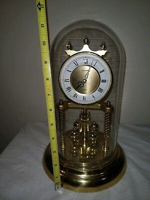 Vintage Sloan Anniversary Quartz Clock With Glass Dome Made In Germany