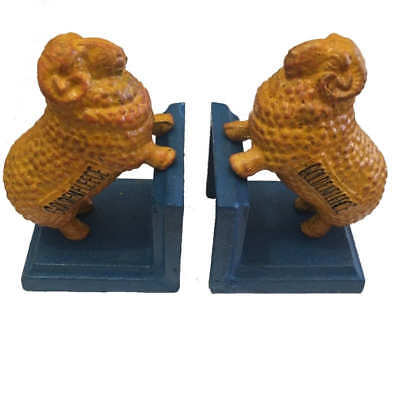 Golden Fleece Cast Iron Bookends Ram Sheep Blue Base Retro Book Ends Man Cave