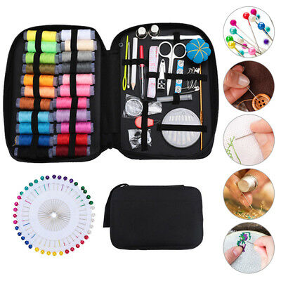 126/134pc Portable Travel Small Home Sewing Kit Case Needle Thread Tape Mini Set