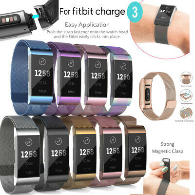 For Fitbit Charge 3 Replacement Milanese Metal Strap Secure Band Metal Buckle