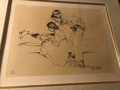 """NORMAN ROCKWELL """"SAFE AND SOUND"""" AUTHENTIC LITHOGRAPH PAINTING ART Ltd Ed"""