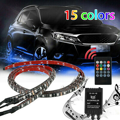 Car RGB LED Neon Under  Atmosphere Chassis Bar Light Controller Waterproof Strip
