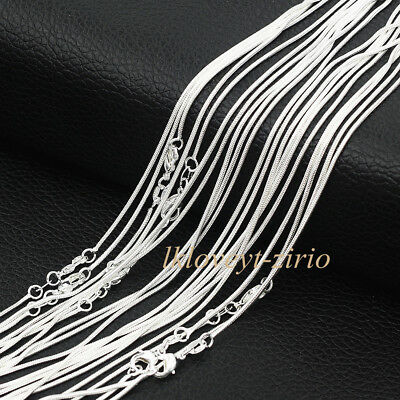 "Wholesale Lots 5Pcs 925 Sterling Solid Silver 1mm Snake Chain Necklaces 16""-30"""