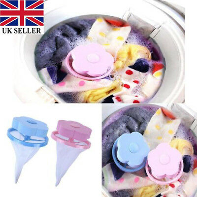 UK Washing Machine Laundry Supplies Floating Lint Mesh Pouch Hair Filter Bag Net