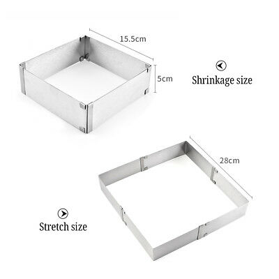 Stainless Steel Mousse Cake Ring Mold Square Cutter Baking Tools Adjustable