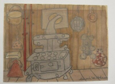 Signed Sarah McPherson (1894-1978) kitchen scene drawing/watercolor NYC artist