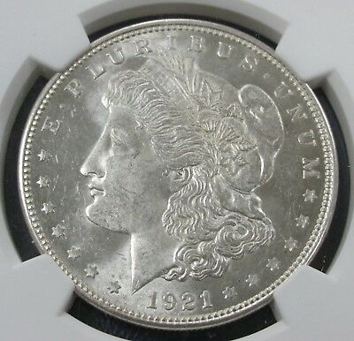 1921-D MORGAN SILVER DOLLAR NGC MS 62 - Almost Prooflike Fields [003] T3