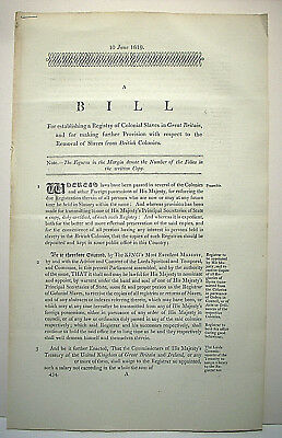 3 Bills of Parliament concerning the abolition of slavery in the Colonies, 1819