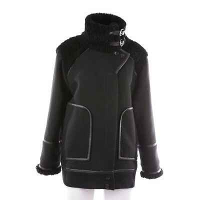 Iro Winter Coat Size de 34 Fr 36 Black Women's Coat Manteau Leather Wool Parts