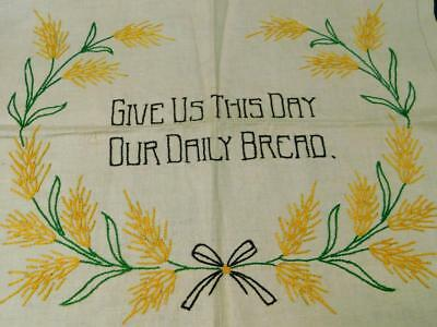 Vintage Completed Linen Sampler Betsy Ross GIVE US THIS DAY OUR DAILY BREAD