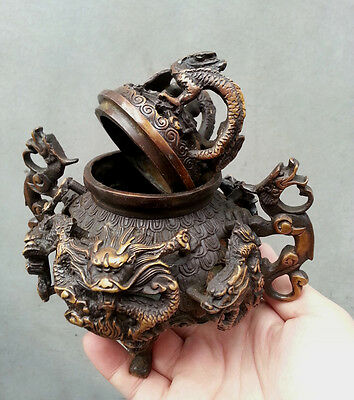 Collection antique Bronze China lucky 9 dragon Statue incense burner H:15cm