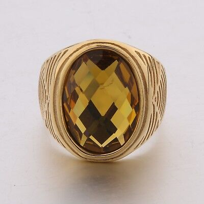 Unique Mens Wedding Gold Stainless Steel Yellow Citrine Finger Rings Celtic Band