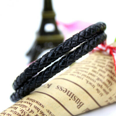 Mens Genuine Leather Braided Wristband Bracelet Stainless Steel Magnetic Clasp