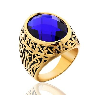Mens Gold Stainless Steel Oval Sapphire Celtic Band Unique Chic Wedding Rings