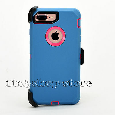 iPhone 7 Plus iPhone 8 Plus Case w/Holster Clip fits Defender Blue Pink