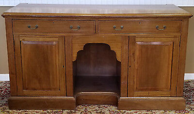 Antique English Georgian Inlaid Mahogany Dining Buffet Credenza Cabinet c1880