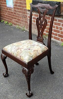 Quality Antique Carved Mahogany Chippendale Style Side Chair c1900