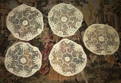 Set of 5 Antique / Vintage BRUSSELS Bobbin Net Lace Embroidered  DOILIES