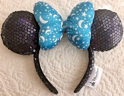 DISNEY Parks Sorcerer Stars & Moon Minnie Blue Bow Headband Sequins Ears - NWT