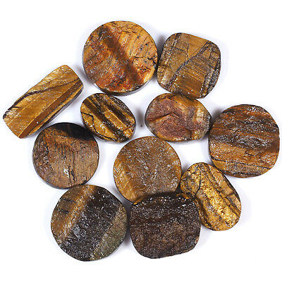 11 Pcs Finest Untreated Natural Druzy Tiger Eye Stones 28mm-20mm - 295.65 Cts