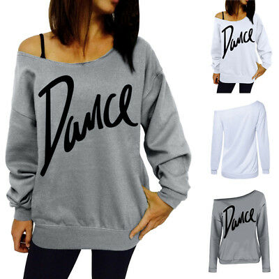 Womens Off Shoulder Dance Print Sweatshirt Pullover Jumper Blouse Tops MH