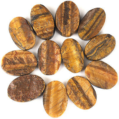 12 Pcs Finest Untreated Natural Druzy Tiger Eye Stones 28mm-31mm ~ 367.80 Cts