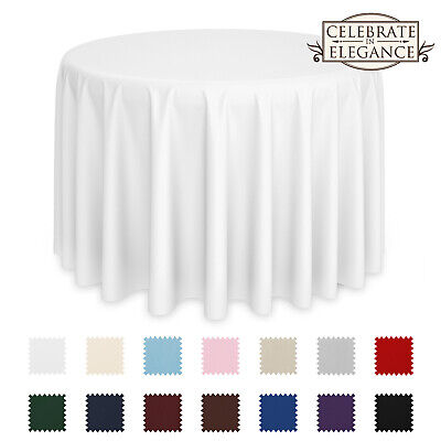 5 Pack Round Wedding Banquet Polyester Fabric Tablecloths
