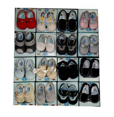 """Lot of 12 Pairs -Assortment of """"Tinny"""" Girls & Boys Baby Shoes – Leather & Suede"""