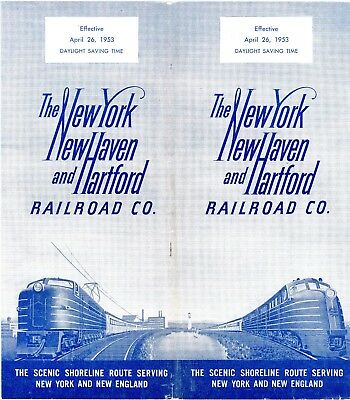 New York, New Haven & Hartford RR  System passenger time table, April 26, 1953