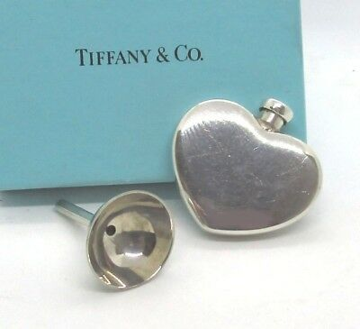 TIFFANY & CO Sterling Silver Scent / Perfume Flask w Funnel in box