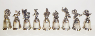 New England Collectors Lot of 9 Disney Silver Plate Bells