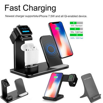 3 IN 1 Qi Wireless Charging Stand for iPhone Dock Holder for Apple Watch &Airpod