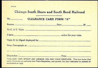 Chicago South Shore & South Bend RR, interurban clearance card and train order