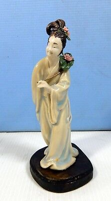 Vintage Blanc De Chine white porcelain Chinese lady with fan circa 1950s #2