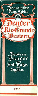 Denver & Rio Grande Western Railroad,  Descriptive passenger time table, 1930