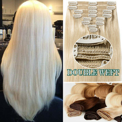 """12""""-24"""" Deluxe Extra Thick Double Weft Clip in Remy Human Hair Extensions Blonde"""