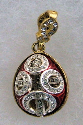 Handmade Russian Faberge Egg Pendant SILVER AND GOLD CUTOUT DESIGN