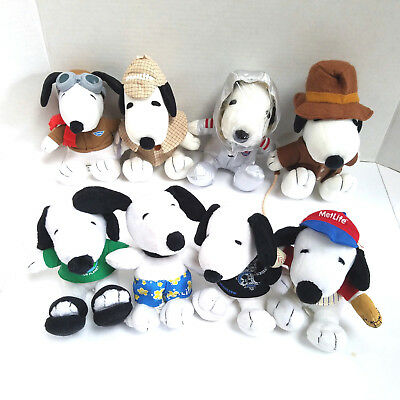 MetLife SNOOPY Plush Lot of 8 Stuffed Animal Dog Peanuts - All Different EUC